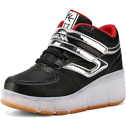 Bambini USB ricarica scarpe Bambini Roller con ruote LED Scarpe per bambine, Zapatillas Hombre, Black-2, US 6.5=EU 39