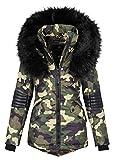 Navahoo Damen Winter Jacke Designer Parka Kunstfell Winterjacke B369 [B369-Camouflage-Gr.XL]