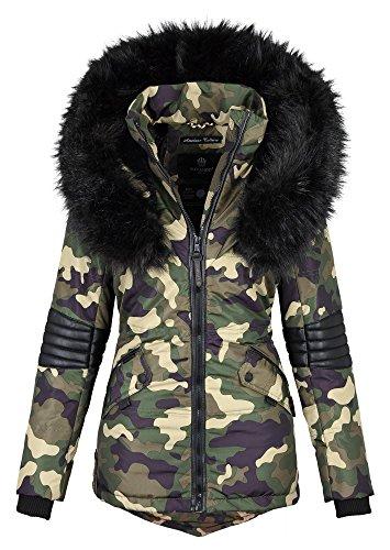 Navahoob369 –giacca invernale da donna stile parka, in pelliccia sintetica mimetico xl