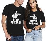 Shirt de Couple Coton Couples Tees Shirts 2 Pcs pour Amoureux Logo Shirt Impression Doigts Tops à...
