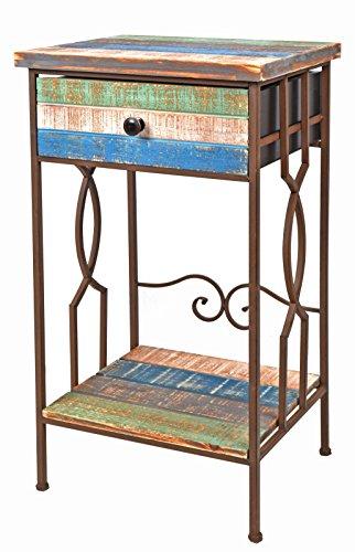 Comodino/tavolino/cassettone in legno e metallo - colore: marrone - stile: design industriale/antico