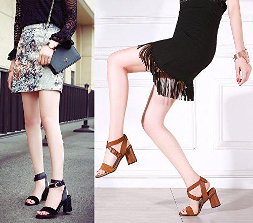 OALEEN Sandale Femme Cuir Vrai Bout Ouvert Bride Cheville Nu pieds Chaussures Talon Haut Bloc Noir Classique