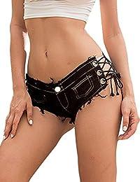 f3ec502a98 Minetom Pantalón Corto Mujer Verano Mezclilla Denim Casual Jeans Shorts  Cortocircuitos Moda Cintura Baja Súper Mini