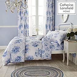 Catherine Lansfield Canterbury Blumenmuster Easy Care Bettbezug-Set, Polyester-, blau, Single