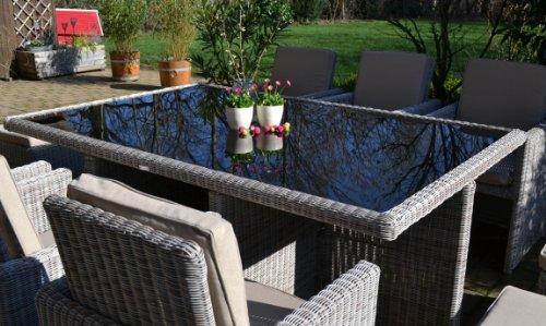 bomey Polyrattan Rattan Geflecht Garten Sitzgruppe Toscana XL in sand-grau Natur (Rundgeflecht 3mm) (Tisch 6 Sessel 3 Hocker) für 6 bis 9 Personen Bild 3*