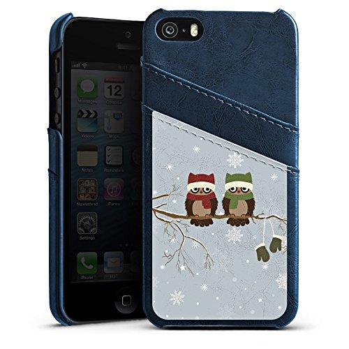 Apple iPhone 5s Housse étui coque protection Hibou Hibou Uhu Étui en cuir bleu marine