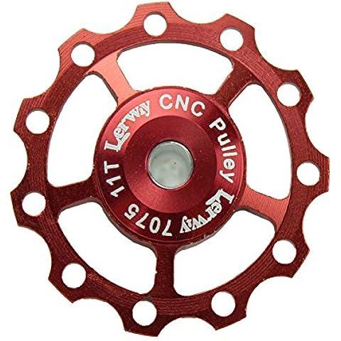 Lerway A-05 11T Bicicletta Derailleur Guidacinghia Ruote Alluminio Pulley Jockey CNC Wheel SHIMANO SRAM-rosso - Cuscinetto Ruota Corsa