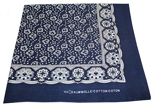 Tobeni 548 Damen Herren Nickituch Kopftuch Bandana Halstuch Baumwolle Unisex Farbe Paisley Marine Grösse 54 cm x 54 (Einfache Weise Mann Kostüm)