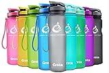 Grsta Sport Trinkflasche 32oz-1000ml - Wasserflasche Auslaufsicher, Eco Friendly BPA Frei Tritan Kunststoff Flaschen mit Frucht Filter, Sporttrinkflasche für Kinder, Gym, Yoga, Laufen, Camping, Büro (Grau)