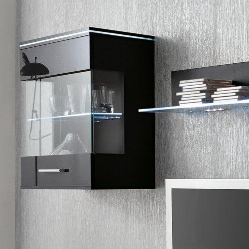 Anbauwand 3-tlg. in Hochglanz schwarz, TV-Element, Hängevitrine, Glasbodenpaneel, Mindestbreite: ca. 180 cm, Tiefe: ca. 40 cm - 2
