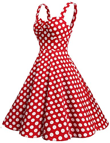 Dresstells Schultergurt 1950er Retro Schwingen Pinup Rockabilly Kleid Faltenrock Red White Dot L - 2