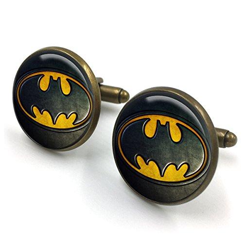 Antike Bronze Batman Manschettenknöpfe  Batman  Joker  Selbstmordkommando  Harley Quinn  der Joker  dc Comics