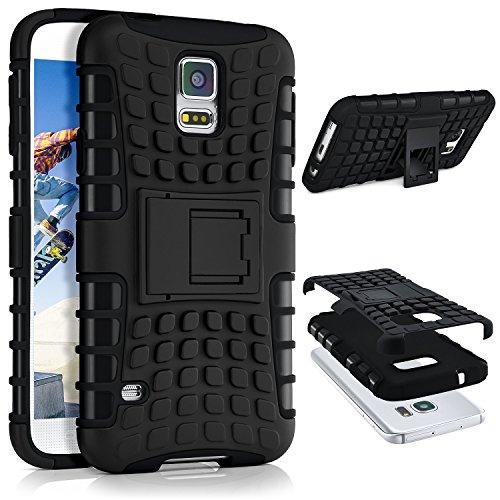 Tank Case für Samsung Galaxy S5 / S5 Neo | Outdoor Hülle mit Dual Layer Protection | Handy Schutz Tasche von OneFlow | Back Cover in Schwarz