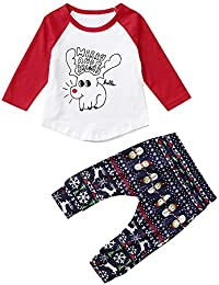 Preisvergleich für Riou Weihnachten Set Baby Kleidung Pullover Pyjama Outfits Set Familie Kleinkind Kind scherzt Baby Rotwild T Shirt...