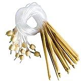 Set Agujas Ganchillo 16 Piezas 15cm de Bambú - Kit Ideal para Hacer Muchos Patrones y Proyectos Incluyendo Encaje, Flores, Blondas y Ropa de Bebé