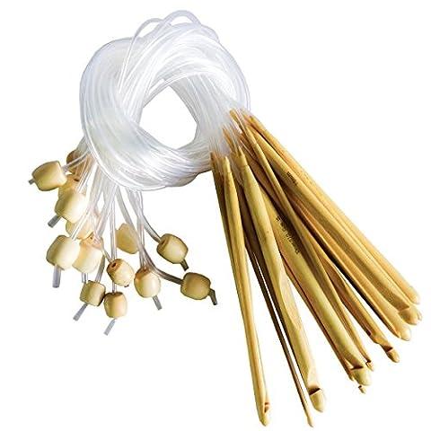 16 teiliges Bambus Häkelnadel Set von Curtzy - Ideales Kit zum Häkeln Vieler Muster & Projekte einschließlich Spitzen, Blumen, Deckchen & Baby Kleider - Größen 2-12mm Mit Kunststoff-Kabelenden