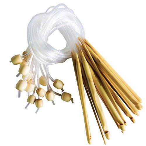 16 Stück 15cm Bambus Afghan Tunesische Häkelnadel Set von Curtzy - Ideal Kit zum Häkeln vieler Muster und Projekte einschließlich Spitze, Blumen, Deckchen und Baby-Kleidung - Größen 2-12mm mit Kunststoff-Kabelenden (Pony-haar-spitze Und Griff)