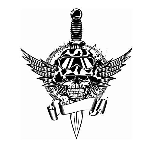 Wandtattoo Wohnzimmer Schädel Halloween Dolch Flügel Soldat Sticker Punk Death Decal Halloween Teufel Dekor für Jungen Schlafzimmer -
