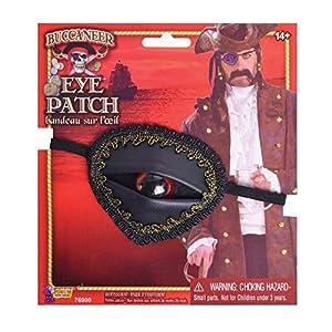 Bristol Novedad MD235 Buccaneer Eyepatch, Unisex Adulto, Negro/Rojo, Talla Única