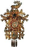 Original Schwarzwälder Kuckucksuhr/Schwarzwald-Uhr (zertifiziert), 8-Tage-Werk, mechanisch, Musik, Tänzer, 90 cm, 5 Jahre Garantie, Jagd, Steinbock, Hirsch