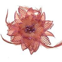 Acosta-Glitter & piume, colore: rosa cipria, misura: L, motivo: giglio con fiore, tacco medio, in tessuto-Spilla a Clip per capelli, accessorio alla moda