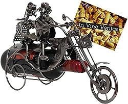 BRUBAKER Flaschenhalter Paar auf Motorrad Metall Skulptur Geschenk mit Geschenkkarte