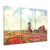 Bilderdepot24 Kunstdruck - Alte Meister - Claude Monet - Tulpen von Holland - 120x80cm dreiteilig - Leinwandbilder - Bilder als Leinwanddruck - Bild auf Leinwand - Wandbild