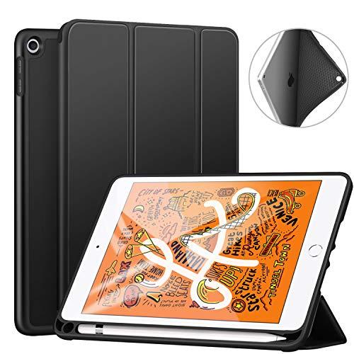 Ztotop Hülle für Neue iPad Mini 5th Generation 2019, Ultradünne Smart Cover Schutzhülle mit Stifthalter, leichte TPU Rückseite, Automatischem Schlaf/Aufwach, für 7.9 Zoll iPad Mini 5 2019 - Schwarz