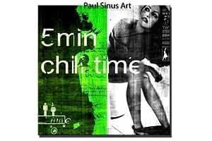 """5 min Chilltime"" 100x100 cm Leinwandbild Kunstdruck Collage Leinwandbild fertig gerahmt Neu direkt von Paul Sinus Art"