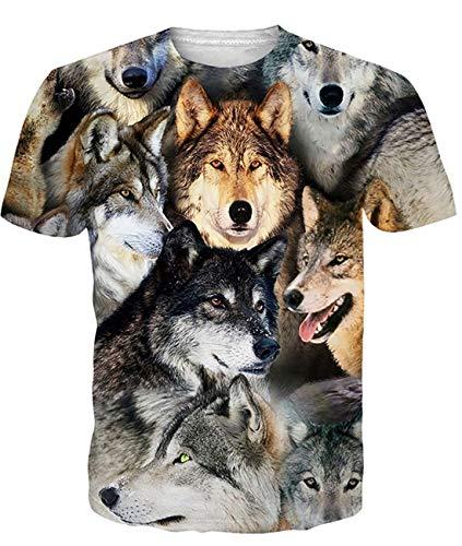 Fanient Herren Damen Aufdruck T-Shirt Rundhals Tee S M L XL XXL, Wolf, S (Wolf Damen Kostüm)