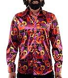 70er Jahre Muster Hippie Hemd lila bunt 3XL