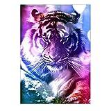 Kits de pintura de diamante Jamicy 5D bricolaje pintura de diamante colorido tigre bordado de punto de cruz para decoración del hogar arte manualidades 30 x 40 cm, lona, A, 30*40cm