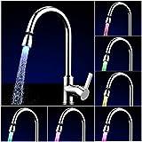 Purebesi LED drehbarer Wasserhahn Bunte LED Wasser Wasserhahn mit 3 Farben wechseln Temperaturkontrolle Wasser Wasserhahn Hahn Für Küche und Badezimmer