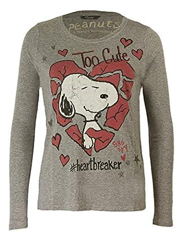 Princess goes Hollywood Damen Snoopy Heartbreaker Langarmshirt in Grau, Größe:38;Farbe:Grau (Weiß Damen Strass-herz-t-shirt)