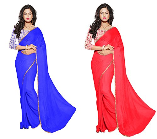 RoopSangam Exclusive Combo Pack Of 2 Sarees With Net Blouse And Fancy Border (Red & Blue)