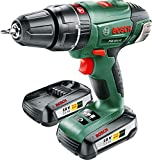 Bosch 0603982371 PSB 18 LI-2 Cordless Combi Drill with Two 18 V Lithium-Ion Batteries, Green