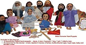 Bible Puppets (Set of 10 and accessories) in hessian sack-EW Education