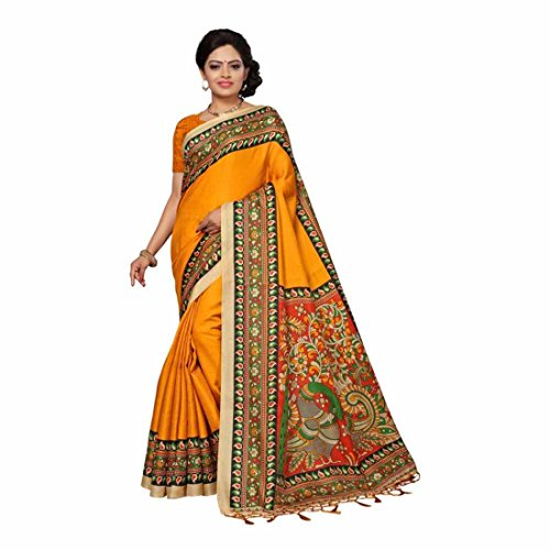 Indian Handicrfats Export Solid, Paisley, Printed Bhagalpuri Silk Saree (Yellow, Multicolor) Paisley Printed Silk Dress