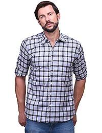 [Sponsored]Chokore Slim Fit Grey & Blue Cotton Casual Shirt For Men