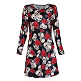 DEELIN Halloween Party Damen Ladies Halloween Skull Long Sleeve Party Mini Dress
