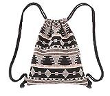 Lumanuby 1 Stück Turnbeutel Mode Beutel Praktisch Drawstring Bag Durable Stricken Material Rucksack Böhmischen Stil Kordelzug Tasche Größe: 34*41cm Farbe C