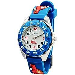 JNEW - Reloj de Cuarzo para Niños con Dibujo de Coche Reloj Deportivo Resistente al Agua Reloj Infantil para Estudiante Cute Sport Watch - Azul