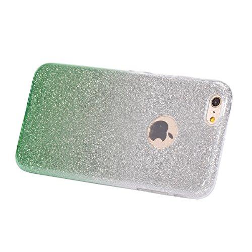 iPhone 6S Plus Hülle,iPhone 6 Plus Hülle,JAWSEU Bling Glitzer Shiny Mermaid Muster Crystal Klare Ultradünne Silikon Gel Schutzhülle Durchsichtig Kristall Transparent Bling TPU Silikon Bumper Schutz Ha Gradient Grün