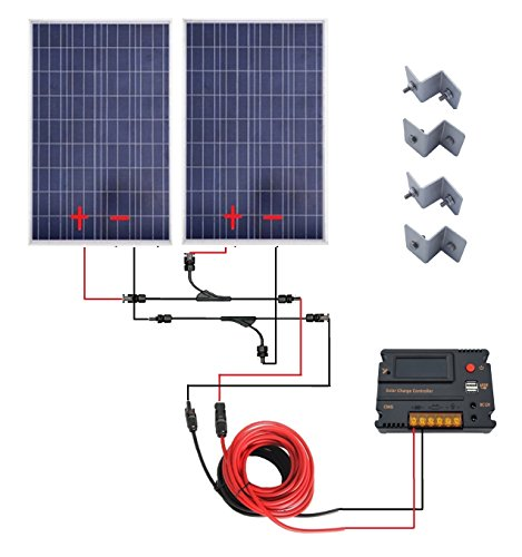 ECO-WORTHY 200 Watt 12V/24V Off Grid Solar Panels Kits - 2pcs 100W  Polycrystalline Solar Panel + 20A Battery Regulator Charge Intelligent  Controller