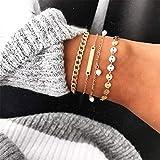 Yesiidor 4 Stücke Pailletten Perlenkette Armband Set Frauen Mädchen Fahsion Charming Stilvolle Gold Armreif Armband Schmuck Zubehör