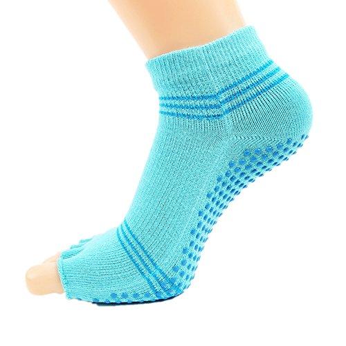 Uiophjkl Yogasocken Rutschfest Yoga Socken Finger Anti-Rutsch-Gummi-Strümpfe Open-Toed Baumwolle Sportsocken (Farbe : Blau)