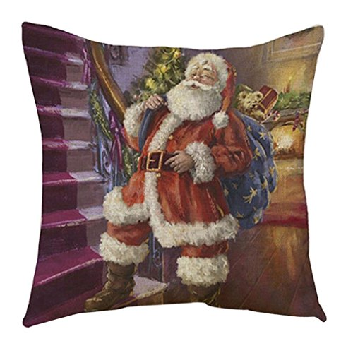 chts Design Santa Claus Kissenbezug für Sofa Bett Home Decor (Style E) (Halloween Grabsteine Cartoon)
