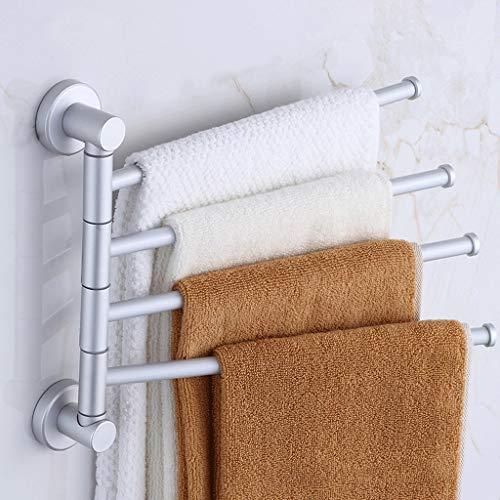 OUOXI Bad Selbstklebende handtuchhalter Raum aluminiumlegierung multifunktions verdickung rotierenden handtuchhalter hängen Regal (Farbe : Standard Version 3 Poles) -