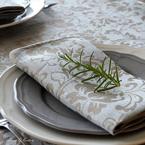 Linen & Cotton Lot de 4 Serviettes de Table Damassée CERVO, 100% Lin - 47 x 47cm (Bleu Clair/ Beige - Design Floral)