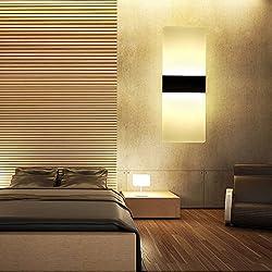Splink Moderna LED Apliques de Pared, Cubierta de Acrílico y Soporte de la Lámpara de Aluminio Negro, Ambiente La Iluminación de Dormitorio, Studio, Hogar, Porche, Blanco Calido, 3000K ,3W